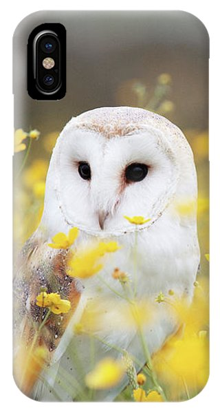 Yellow iPhone Case - White Owl by Happy Home Artistry