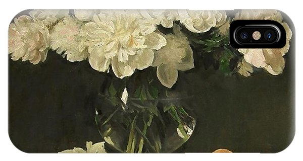 White Peonies In Giant Snifter With Peaches IPhone Case