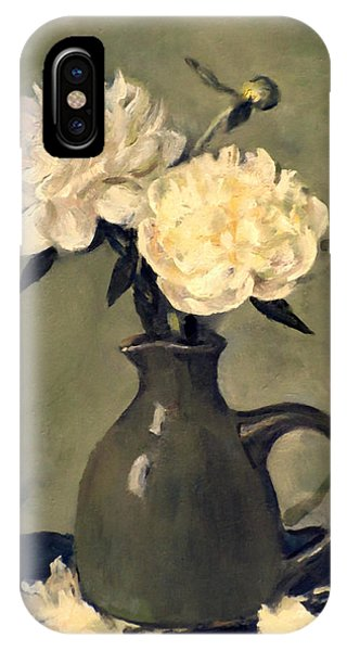 White Peonies In Small Green Pitcher IPhone Case