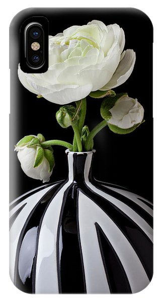 Horticulture iPhone Case - White Ranunculus In Black And White Vase by Garry Gay
