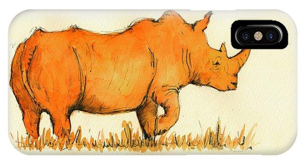 White Rhino Orange IPhone Case