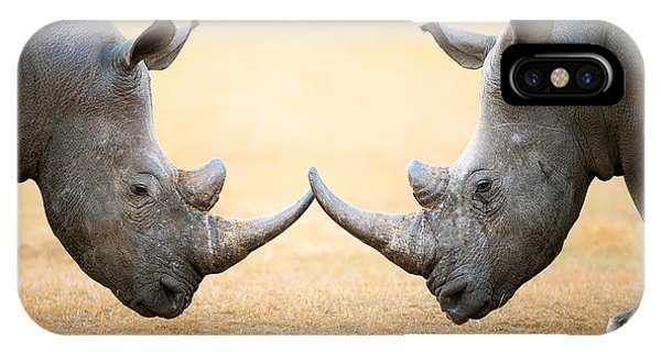 Head And Shoulders iPhone Case - White Rhinoceros  Head To Head by Johan Swanepoel