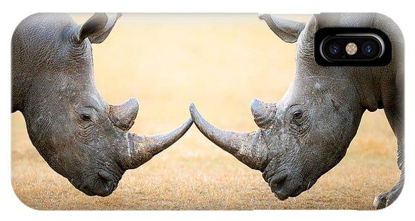 Adult iPhone Case - White Rhinoceros  Head To Head by Johan Swanepoel
