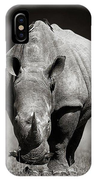 Monochrome iPhone Case - White Rhinoceros  In Due-tone by Johan Swanepoel
