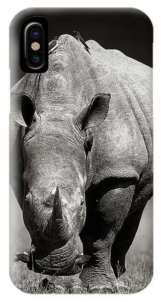 Monochrome iPhone Case - White Rhinoceros  In Due-tone by Johan Swanepoel