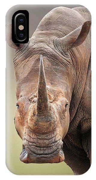 Lips iPhone Case - White Rhinoceros Portrait by Johan Swanepoel