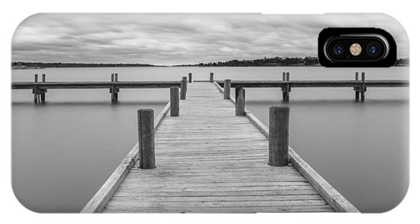 White Rock Lake Pier Black And White IPhone Case