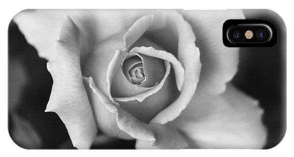 White Rose Against Black IPhone Case