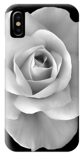 White Rose Flower In Black And White IPhone Case