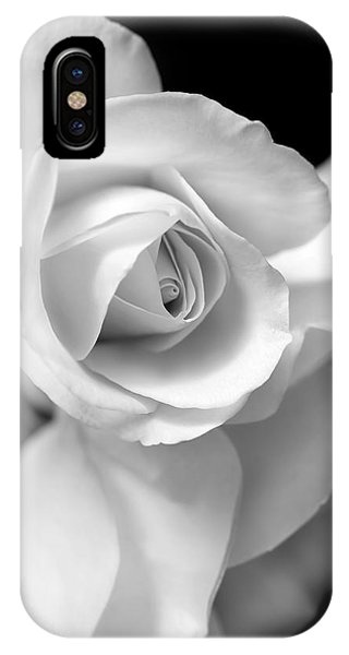White Rose Petals Black And White IPhone Case
