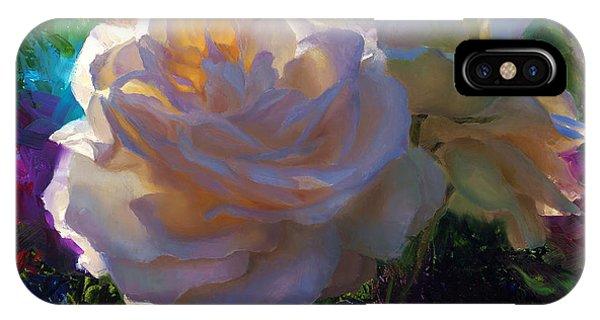 White Roses In The Garden - Backlit Flowers - Summer Rose IPhone Case
