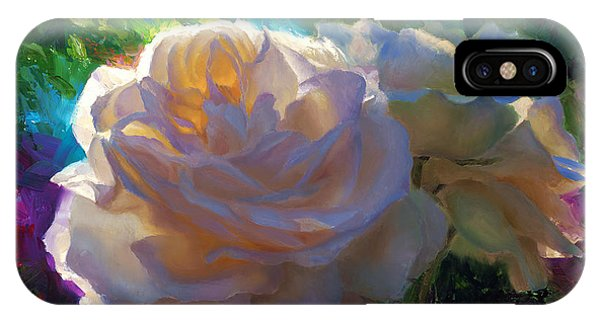 White Roses In The Garden - Backlit Flowers - Summer Rose IPhone Case