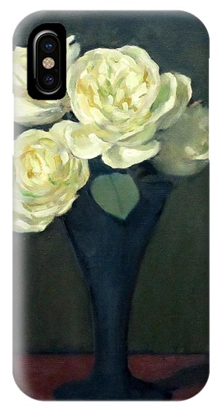 Four White Roses In Trumpet Vase IPhone Case