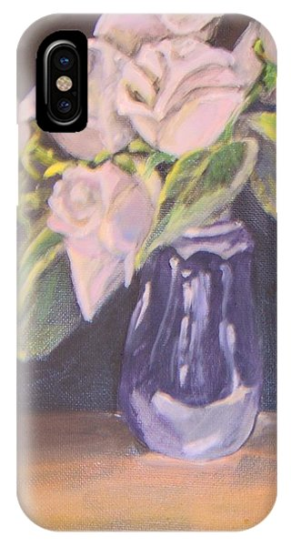 IPhone Case featuring the painting White Roses by Saundra Johnson