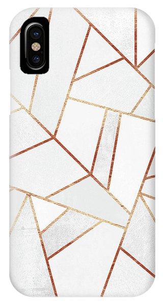 Geometric iPhone Case - White Stone And Copper Lines by Elisabeth Fredriksson