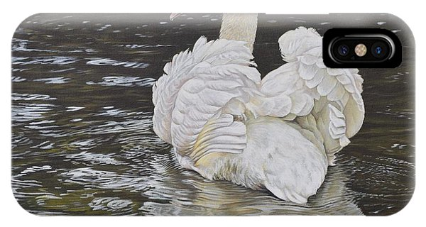 IPhone Case featuring the painting White Swan by Alan M Hunt