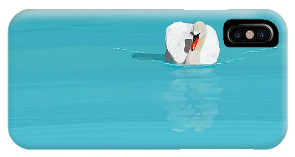 White Swan Blue Lake IPhone Case
