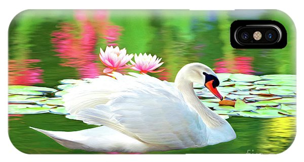 Swan iPhone Case - White Swan by Laura D Young