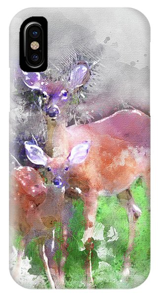 White Tail Deer In Watercolor IPhone Case