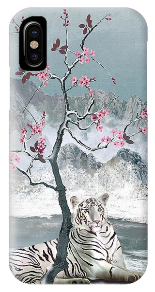 White Tiger And Plum Tree IPhone Case