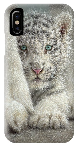 White Tiger Cub - Sheltered IPhone Case