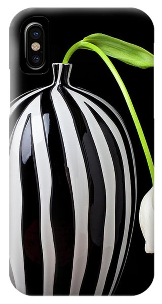 White iPhone Case - White Tulip In Striped Vase by Garry Gay