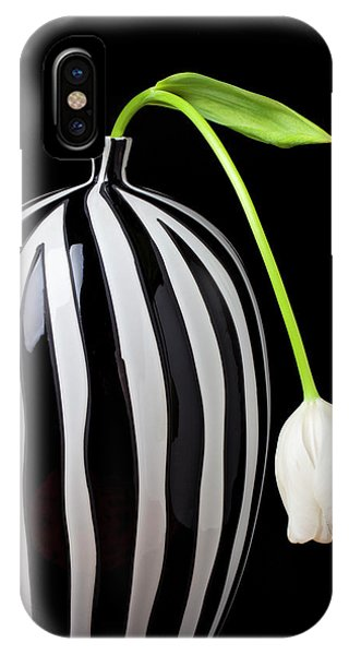 White Tulip In Striped Vase IPhone Case