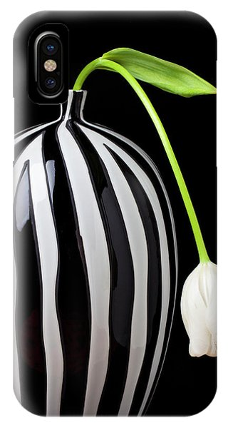 Floral iPhone Case - White Tulip In Striped Vase by Garry Gay