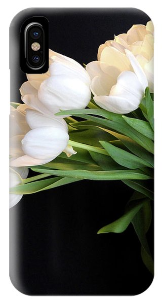 White Tulips In Blue Vase IPhone Case