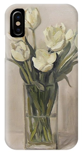 White Tulips In Rectangular Glass Vase IPhone Case