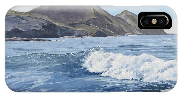 IPhone Case featuring the painting White Wave At Crackington  by Lawrence Dyer