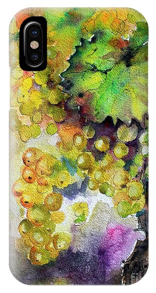 White Wine Grapes Vineyard Watercolor Painting IPhone Case