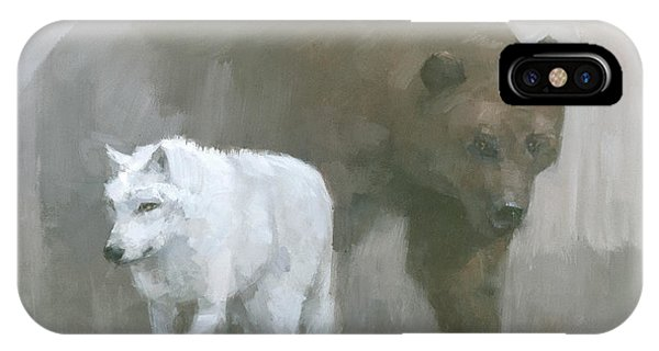 IPhone Case featuring the painting White Wolf, Brown Bear by Steve Mitchell