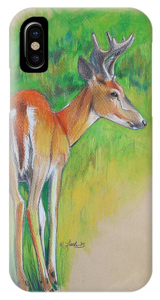 Whitetail Buck Mixed Media IPhone Case