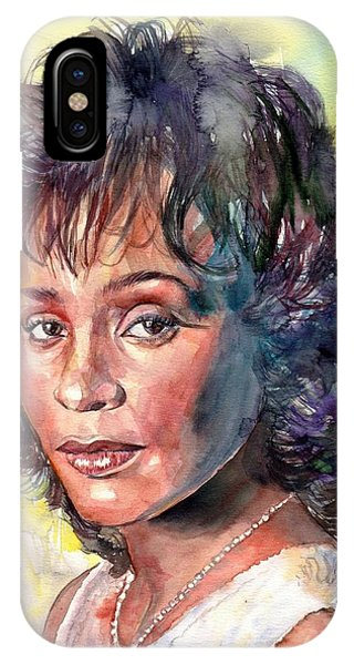 Legends Music iPhone Case - Whitney Houston Portrait by Suzann's Art