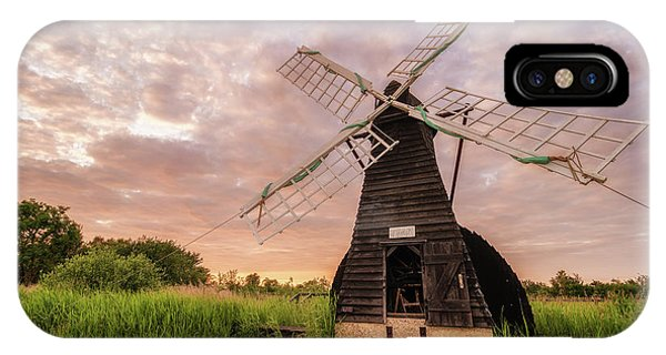 Wicken Wind-pump At Sunset II IPhone Case