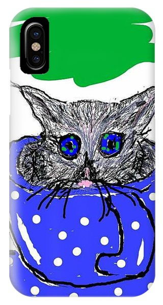 Good Humor iPhone Case - Wide Eyed Kitten In A Teacup by Kathy Barney