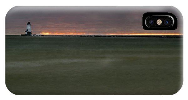 Wide View Of Lighthouse And Sunset IPhone Case