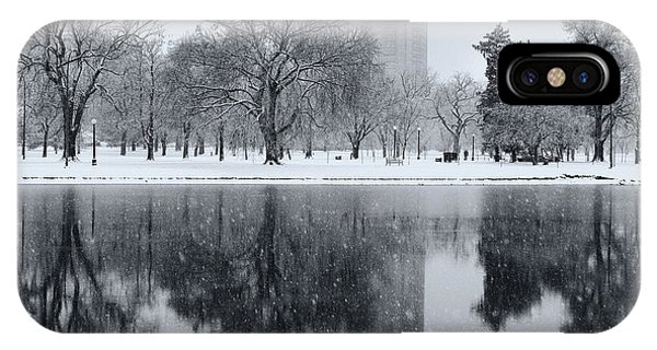 Snowy Reflections Of Trees In Lake At City Park, Denver Co  IPhone Case