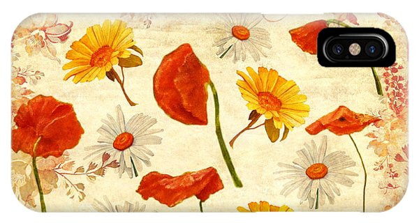 IPhone Case featuring the mixed media Wild Flowers Vintage by Angeles M Pomata