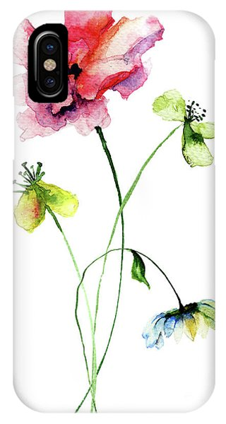 Wild Flowers Watercolor Illustration IPhone Case
