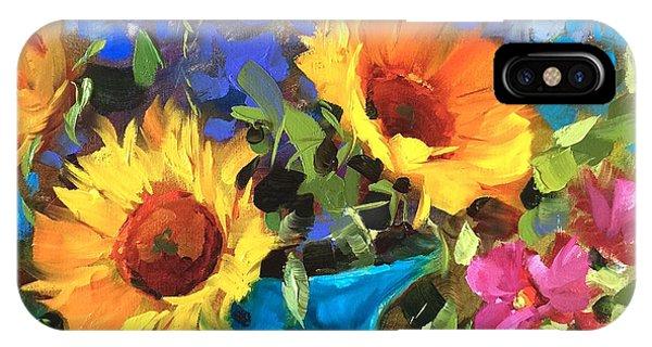 Sunflower iPhone X Case - Wild Garden Sunflowers by Nancy Medina