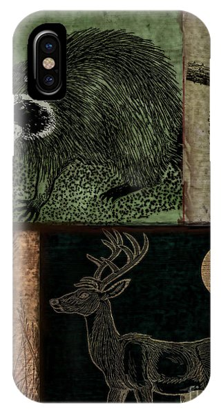 Cabin iPhone Case - Wild Racoon And Deer Patchwork by Mindy Sommers