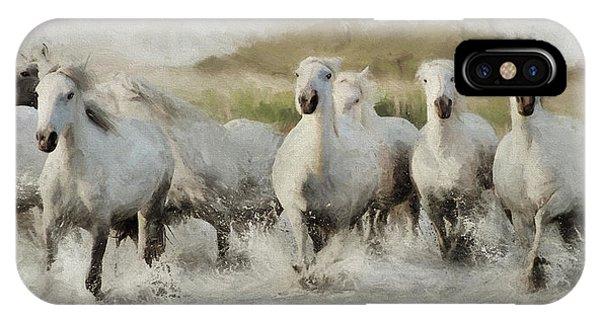 Wild White Horses Of The Camargue I IPhone Case