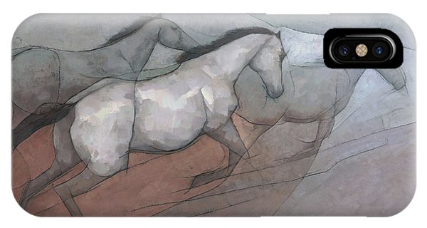 IPhone Case featuring the painting Wild White Horses by Steve Mitchell