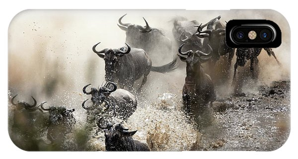 iPhone Case - Wildebeest Herd Crossing The Mara River by Jane Rix