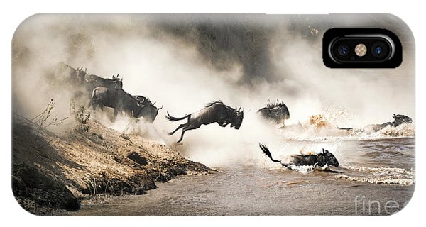 iPhone Case - Wildebeest Leap Of Faith Into The Mara River by Jane Rix