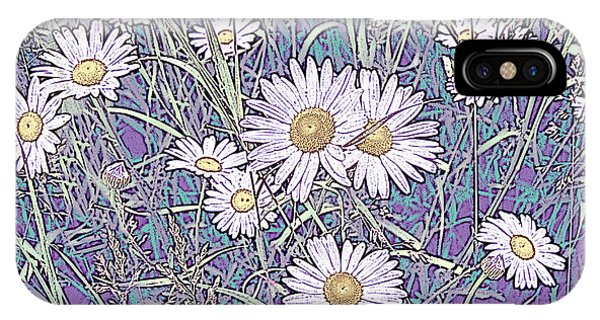 Wildflower Daisies In Field Of Purple And Teal IPhone Case