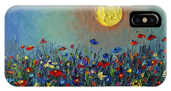Wildflowers Meadow Sunrise Modern Floral Original Palette Knife Oil Painting By Ana Maria Edulescu IPhone Case