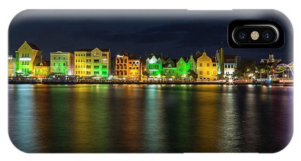 IPhone Case featuring the photograph Willemstad And Queen Emma Bridge At Night by Adam Romanowicz